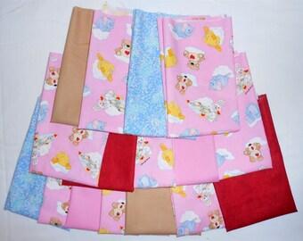 Suzy Zoo Fat Quarter Bundle 16pc. pink suzy zoo/clouds/bedtime blanket/bears/hearts/elephants/duck/bunny (#O190)