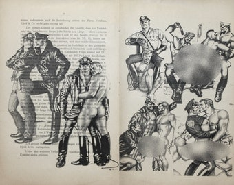Gay erotic poster  / Tom of Finland fetish gay  / 1 double pages printing Antique  German book  decor interior picture ART erotic