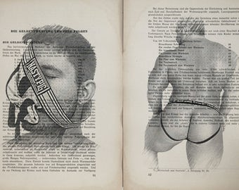 Erotic Gay poster  / Muscle mens fetish / nude   mens  / 2 pages Printing Antique  book  decor interior picture ART erotic souvenir
