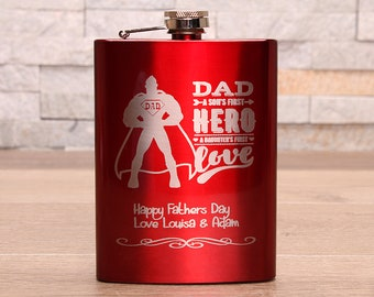 Red Fathers Day Hipflask...Dad, a sons first hero and a daughters first love. Personalised message