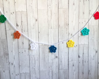 RAINBOW FLOWER BUNTING - Handmade Crochet Flower, Bunting, Garland, Vintage, Kitsch, Cool.