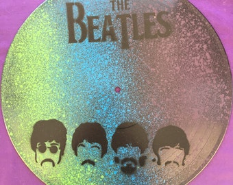 The Beatles Spray Painted Record Clocks