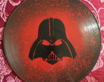 Darth Vader Star Wars Spray Painted Vinyl Record Clock