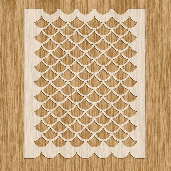 Ap0101 fish scale large pattern stencil for Fish scale stencil