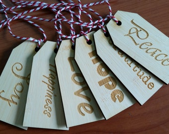 Unique Rustic Wooden Gift Tags set of 6 Joy, Hope, Happiness, Love, Peace, Gratitude.