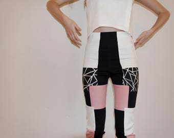 Handpainted collage pants, with geometric print