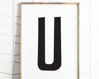 u letter art, u letter printable, u digital art, u instant download, u letter decor
