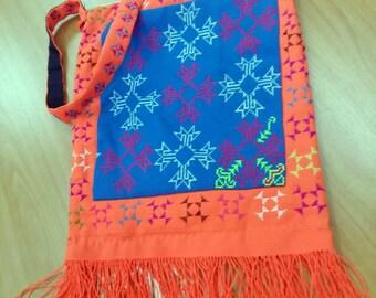 Hmong Tribe Bag, Shoulder Bag with Hmong Embroidered Fabric, Hmong handbags, Hmong Shoulder Bag, Handmade Bag, Thai Hill Tribe Bag