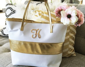 Gold Stripe Monogram Tote Bag