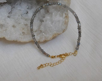 Genuine Natural Faceted Labraordite Bracelet with Gold Plated Extension 7 inch Beaded Bracelet