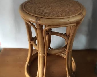 Vintage bamboo stool, side table, plant stand