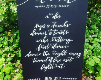 Wedding Sign | Chalkboard Wedding Sign | Order of Events Sign | Rustic Wedding Sign | Wedding Signs