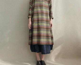 Women loose cotton dress stripe dress linen vintage dress round neck dress long sleeves dress