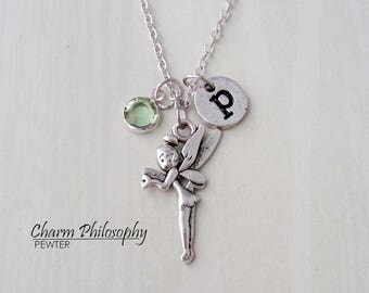 Tinkerbell Necklace - Peter Pan Jewelry - Monogram Personalized Initial and Birthstone