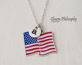 American Flag Necklace - Patriotic Necklace - United States of America - Antique Silver Jewelry - Personalized Monogram Initial Necklace