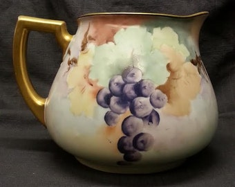 Bavaria Hutschenreuther & Company Selb Hand Painted Grape Motif Lemonade or Cider Pitcher