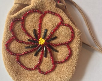 Deer Leather Hand Beaded flower Medicine Bag- Leather pouch- Crystal pouch - Amulet bag- tobacco pouch
