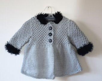 Gray Baby Coat, Toddler Coat, Hand Knit Baby Coat, Girl Coat, Girl Clothes, Wool baby jacket, Silver Baby Coat, Knit Baby clothes, Elegant