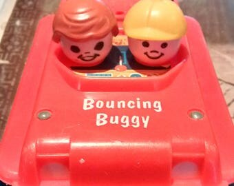 Vintage Fisher Price Pull Toy Bouncing Buggy #122 1973