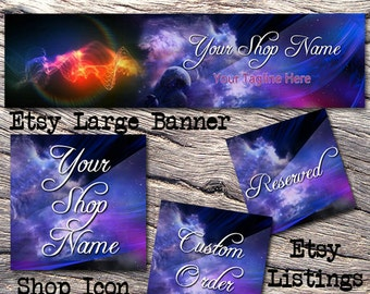 ETSY LARGE COVER Complete Shop Set-Mystical Fantasy Cover Photo-Premade Fantasy Etsy Set-New Age Etsy-Etsy Large Cover-Clouds Banner, #101