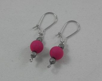 Pink/silver beaded earrings
