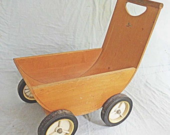 Mid Century Modern Bent Plywood Wood Doll Child Carriage 50's Toy Eames Era Vintage Mod