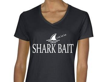 Finding Nemo Inspired Women's Shark Bait Ohh Ha Ha Graphic V-Neck T-Shirt