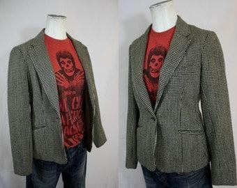 Vintage Black + Cream Checked Soft Wool Boyfriend Blazer Lined Peerless of Boston | Preppy 1970s | Womens Small 34-38 Bust