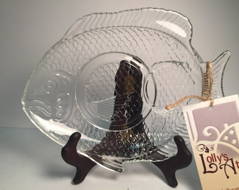 Set of 4 Glass Fish Appetizer Plates
