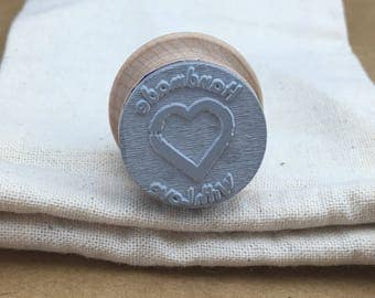 Handmade with love Stamp, great stamp for packaging. Envelope stamp, Shipping supplies.