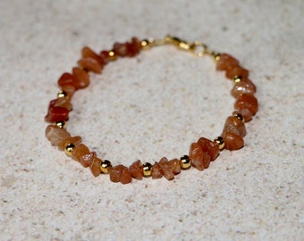 Red Aventurine and Gold Bead 7.5 Bracelet; Promote Vitality , Confidence , and Healing