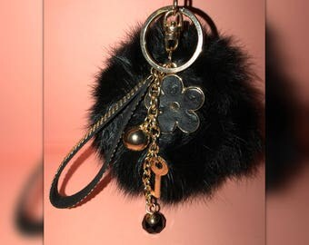 Fluffy Black Pom-Pom w/ charms