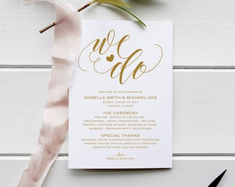 Gold Wedding Program Template, Wedding Ceremony Program, Instant Download PDF template, Kraft Wedding Program, WPC_142