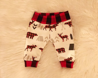 Camping leggings, bear and moose leggings, baby and toddler leggings, buffalo check