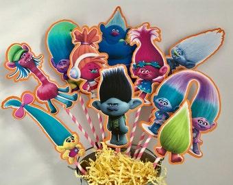 Disney Trolls Set of 10 Centerpiece Picks (DOUBLE-SIDED)