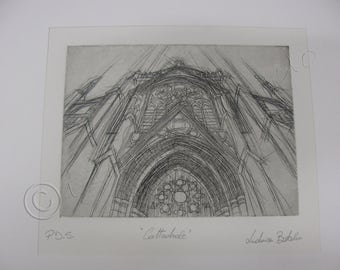 Gothic Cathedral, INTAGLIO, etching, engraving, print, engraving