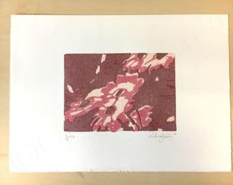 ROSE COLORED FLOWERS, woodcut, wood matrix