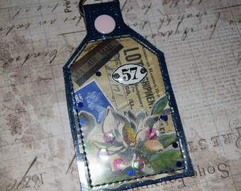 Blue Hues 57 Mixed Media Tag One of a Kind Keychain