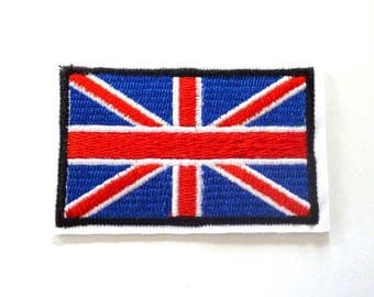 UK Union Flag Red White and Blue Iron on Patch with Black Border - H406