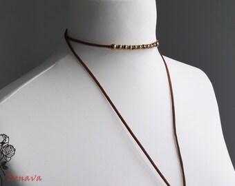 Retro Choker necklace vintage brown / gold