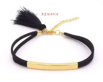 Bracelet with tassel black gold fabric bracelet
