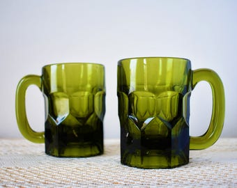 Pair of Vintage Green Glass Beer Stein Mugs - Slytherin Tavern, St Paddy's Day, Mad Men Mid Century Style