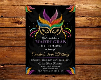 Mardi Gras Invitation. Birthday Party Invitation. Mardi Gras Soiree. Masquerade, Masked Ball. Printable. Adult Invitations. Any age.