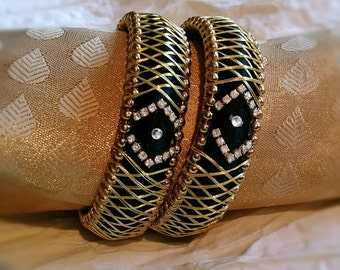 Silk Thread Jewelry ~ Black ~ Stone worked - A set of 2 Handmade Silk Thread Woven Bangles ~ Ethnic Indian Accessory ~ Favor/Return Gifts