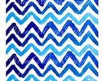Chevron Watercolor Blues Printed Adhesive Vinyl Sheet 12x12