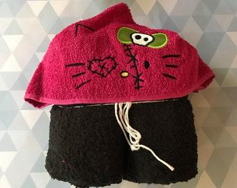 Zombie kitty hooded towel