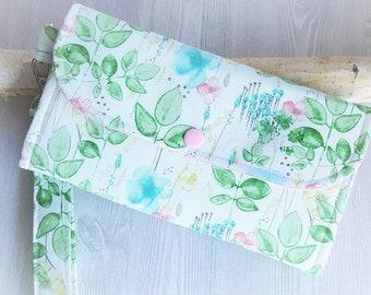 Watercolor wild garden Women's wallet, Wristlet wallet, Womans Clutch wallet, Handmade fabric wallet, Accordion style, Womens Gift