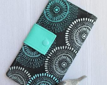Abstract circles Womens wallet, bifold fabric wallet, slim clutch wallet, handmade wallet, womans card wallet, checkbook wallet, gift idea