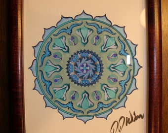 "3D Mandala Paper Sculpture, Star Pattern with Birds, Cool Blue color scheme, 8""x10"", Framed"