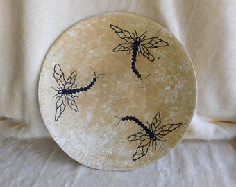 Raku Platter with Black Dragonflies